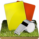 Soccer referee grass icon