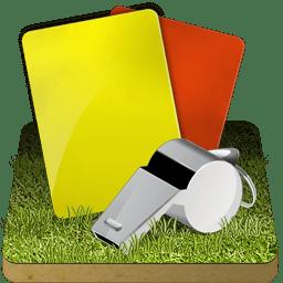 Soccer referee grass icon