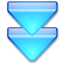 Action-arrow-blue-double-down icon