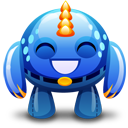 Blue-monster-happy icon