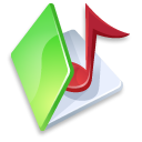 Folder music green icon
