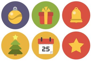 Flat Christmas Circle Icons