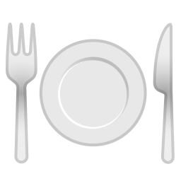 Fork and knife with plate icon