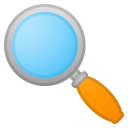 Magnifying glass tilted left icon