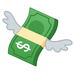 Money with wings icon