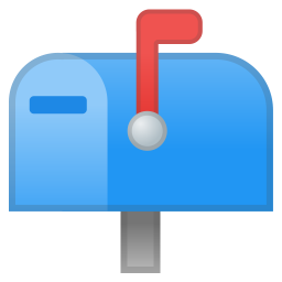 Closed mailbox with raised flag icon