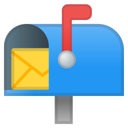Open mailbox with raised flag icon