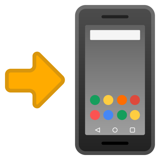 Mobile phone with arrow icon