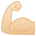 Flexed biceps light skin tone icon