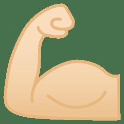 Flexed biceps light skin tone icon