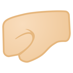 Left facing fist light skin tone icon