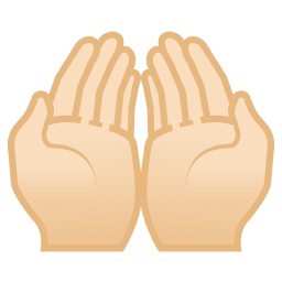 Palms up together light skin tone icon