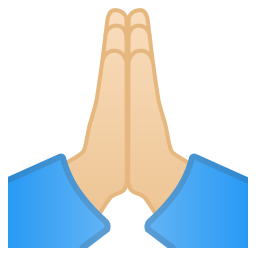 Folded hands light skin tone icon
