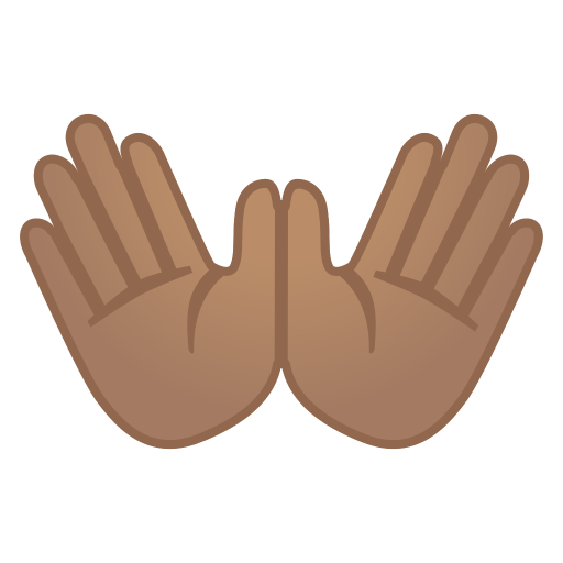 Open hands medium skin tone icon