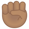 12023-raised-fist-medium-skin-tone icon