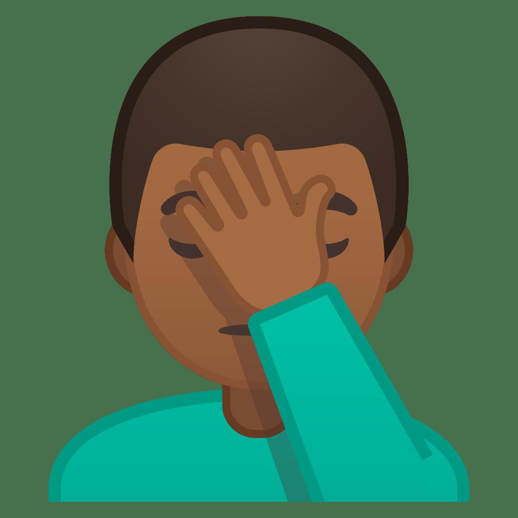 Man facepalming medium dark skin tone Icon | Noto Emoji ...