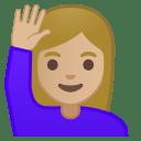 Woman raising hand medium light skin tone icon