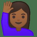 Woman raising hand medium dark skin tone icon