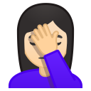 Woman facepalming light skin tone icon