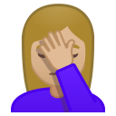 Woman facepalming medium light skin tone icon