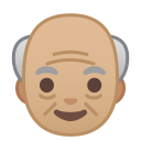 Old man medium light skin tone icon