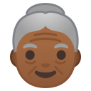 Old woman medium dark skin tone icon