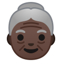 Old woman dark skin tone icon