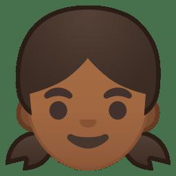 Girl medium dark skin tone icon