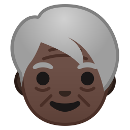 Older adult dark skin tone icon