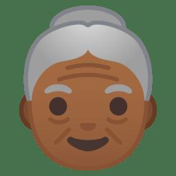Old woman medium dark skin tone icon