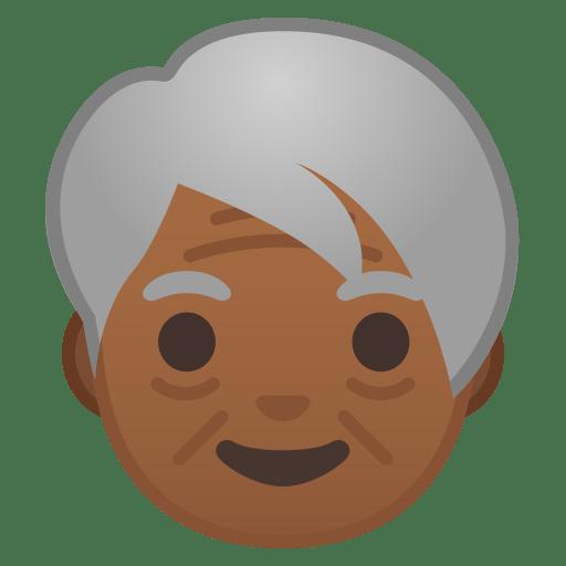 Older adult medium dark skin tone icon