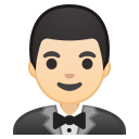 Man in tuxedo light skin tone icon