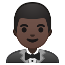 Man in tuxedo dark skin tone icon