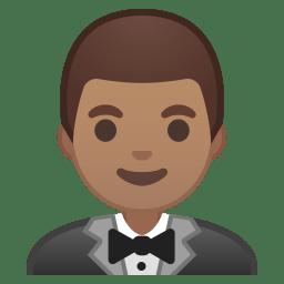 Man in tuxedo medium skin tone icon