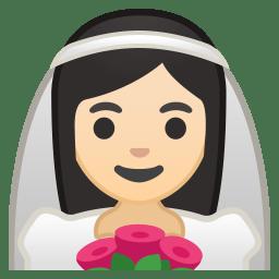 Bride with veil light skin tone icon