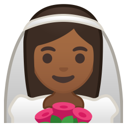 Bride with veil medium dark skin tone icon