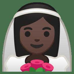 Bride with veil dark skin tone icon