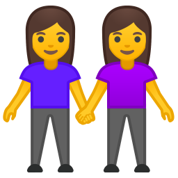 Two women holding hands icon