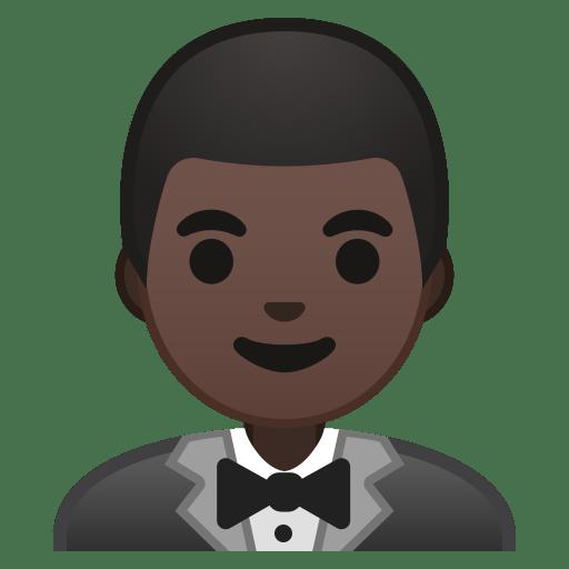 Man in tuxedo dark skin tone icon