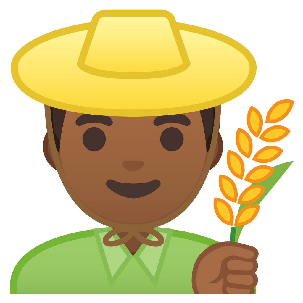 Man farmer medium dark skin tone Icon | Noto Emoji People Profession Iconset | Google