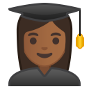 Woman student medium dark skin tone icon