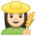 Woman farmer light skin tone icon