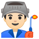 Man factory worker light skin tone icon