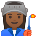 Woman factory worker medium dark skin tone icon