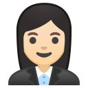 Woman office worker light skin tone icon