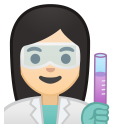 Woman scientist light skin tone icon