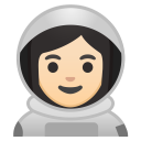 Woman astronaut light skin tone icon