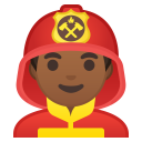 Man firefighter medium dark skin tone icon