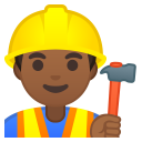 Man construction worker medium dark skin tone icon
