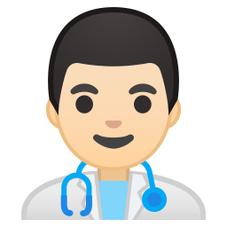 Man health worker light skin tone icon